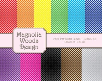 Polka Dot Digital Paper Pack, Basic Small Polka Dot Digital Paper Pack, Rainbow Digital Paper Pack, Small Commercial Use Paper Pack