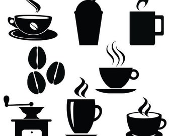 Coffee svg silhouette files pack - cafe vector clipart digital download svg, png, dxf, eps