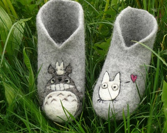 Felted sheep wool slippers with Totoro print