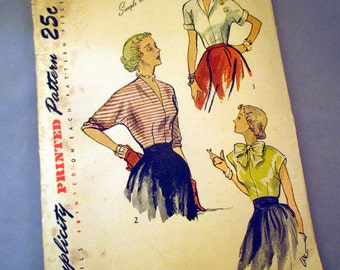Vintage 1940's Simplicity Women's Blouse Pattern 2831 Cut and Complete - Size 12, Bust 30