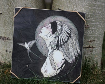 Moonrise and Swallow Song - framed original drawing