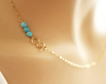 Turquoise Gold Necklace Minimal Blue Necklace Infinity necklace Gold Three Bead Necklace Blue Bridesmaid Necklace Blue Wedding Jewelry Gift