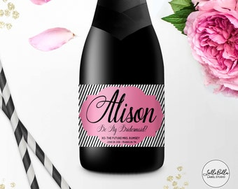 Mini Champagne label, Custom Bridesmaid Label, Be My Bridesmaid, Bridesmaid Gift Ideas, Bridemaid Gift Boxes, Ask Bridesmaids, Gifts