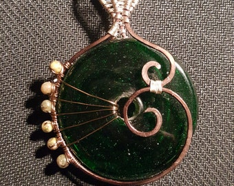 Green Glass Swirl Wire Wrapped Pendant