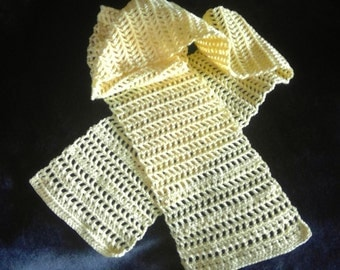 Scarf, handmade, crochet, thread crochet, yellow, light weight, buttercup, summer scarf.