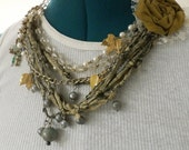 Statement Necklace Mixed Media, Silk, Beads, and Metal Autumn Garden Silk Treasure Bib Necklace