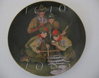 """Vintage - Boy Scouts of America 75th Anniversary 7.5""""Gold Rimmed Plate 1984"""