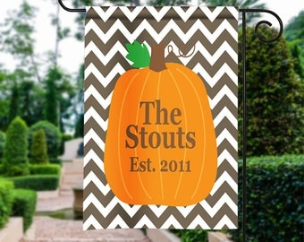 Personalized Garden Flag - Chevron Pumpkin - Fall Garden Flag Monogrammed 12 by 18 Custom Yard Flag Best Selling Gifts For Her Home Decor