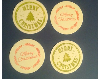 "GIFT TAGS Christmas tags 1.75"" 25pcs. WHITE. Christmas circle tags, gift tags/23sweets/party/gift/hang tags/scrap booking/paper,decoration"