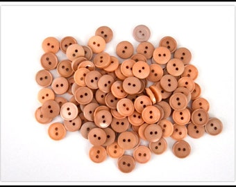 Vintage Buttons - (10) Tan/Light Brown Plastic Buttons - Sewing & Crafts