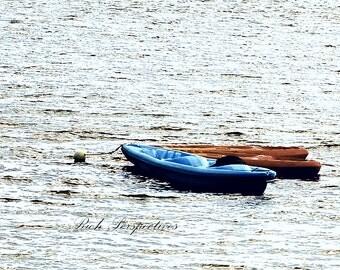 Kayaks, wall art, boats, canoes, lake, water, leisure, bsunny