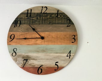 Rustic Wall Clock, large Wall Clock, Reclaimed Wood Decor