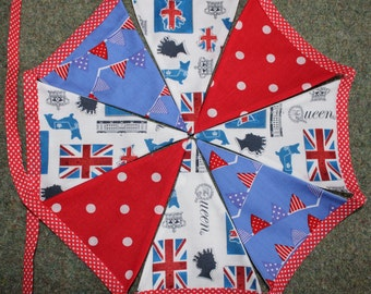 British theme bunting, 2m, handmade, double-sided, london theme, queen bunting, british theme banner