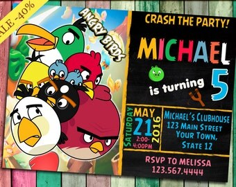 Angry Birds Invitation,Angry Birds Invitation Cards,Angry Birds Birthday Party, Angry Birds Invite, Angry Birds Printables