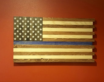 Rustic The Thin Blue Line American Flag Wall Art
