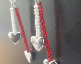 Red and white heart earrings