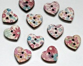 10 wooden colorful 2 hole sewing heart buttons floral flower design assortment diy crafts jewelry scrap booking Size: 12x15mm hole  2 mm