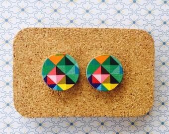 Colourful geometric prism wooden handmade hypoallergenic stud earrings girl gift