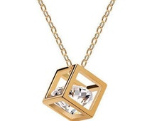 Cubic Gold Necklace with Crystal Zirconium Charm