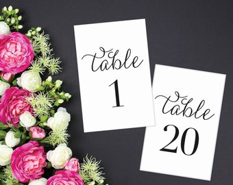 Wedding Table Numbers, Printable Table Numbers, Rustic Table Numbers, Table Numbers Wedding, 4x6, 5x7 Numbers 1-20