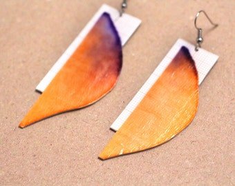 """Paper earring """"Hai He"""" - graph paper and gradient earrings"""