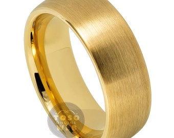 Men's 8mm Domed Yellow Gold IP Brushed Classic Style Ring TS6900