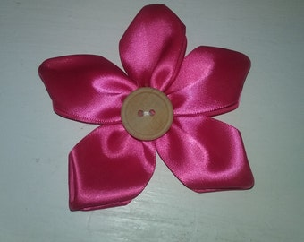 Pink Ribbon Flower Hairbow