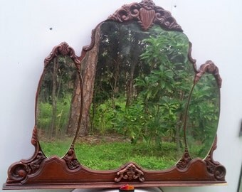 Antique Dresser Mirror Parisian Solid Wood,Victorian Style