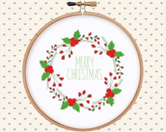 Merry Christmas lettering wreath cross stitch pattern - holiday cross stitch - cross stitch pattern - pattern pdf - xmas, christmas gift