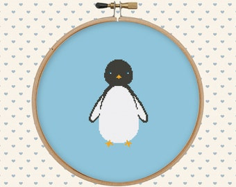 Penguin cross stitch pattern pdf - instant download - bird cross stitch