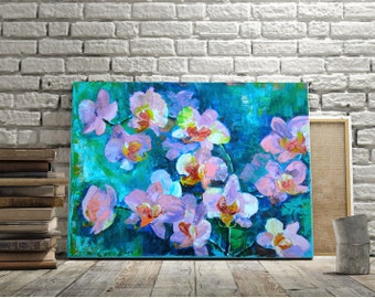 painting on canvas orchid Oil painting on canvas Painting flower Flower from nature Original work Flowers palette knife Paintings on canvas