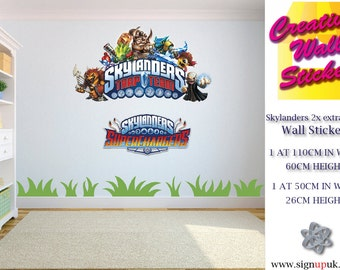 Skylanders wall stickers 2 x extra large Childrens Bedroom large trap team decal 1 at w110 cm x h600 cm 1 at 50cm 26cm