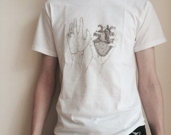 Hands Holding Heart T-Shirt (White)