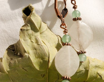 Green and Quartz Glass and Stone Handmade Bead Earrings