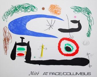 """Joan Miró  - """"Dormir sous la Lune"""" - Offset lithograph signed poster, 1976"""