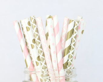 Blush Pink and Gold Paper Straws, Shabby Chic Rustic Wedding Decor, Gold and Blush Baby Shower or Buffet Table, Wedding Party Decorations