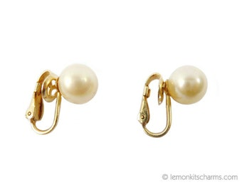 Vintage Majorica 12K GF Faux Pearl Earrings, Jewelry 1960s Mid-century, Clip On Style, Goldtone Gold-filled, Simple Classic Minimalist
