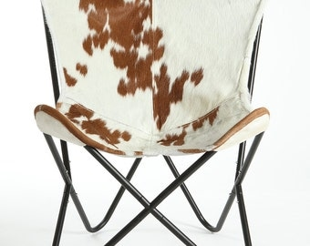 Traditional Brown U0026 White Hair On Hide Butterfly Chair   Cowhide BKF