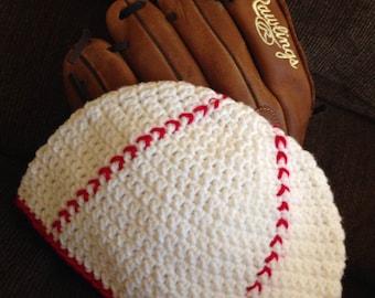 Crochet Baseball Hat - Baseball Beanie - Sports Hat - Winter Hat - Boys Crochet Hat - Girls Crochet Hat - Newborn Photo Prop