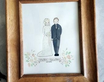 Husband & wife - Couple custom watercolor