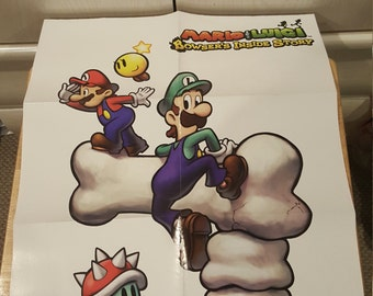 Mario & Luigi Bowsers Inside Story Poster! Prima Strategy Guide! New Collectible Nintendo Poster 2009!