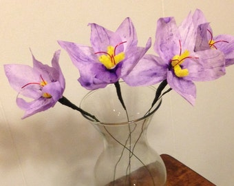 Saffron Crocus Flowers / Paper Crocus Flowers / Coffee Filter Flowers