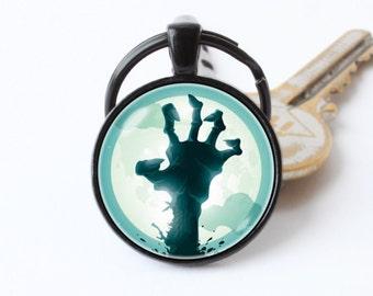 Zombie keychain Zombie apocalypse keyring Zombie hand key chain Dead walking key chain Zombie pendant Funny keyring Zombie jewelry Scary