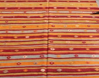 Orange vintage  turkish kilim rug - 8 x 6 ft