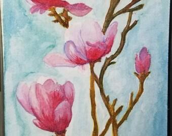 Pink floral original watercolor painting