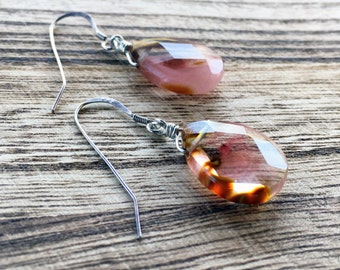 Faceted Teardrop Volcano Cherry Quartz Dangle Earring, 925 Sterling Silver, Wire Wrapped Earring