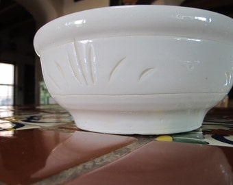 Lees Pottery Inc Paramount CA White Pottery Fruit Bowl Vintage Fruit Bowl White Fruit Bowl