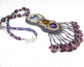 Morado Opal Embroidery Pendant, Opal Bead Embroidery Necklace, Purple Embroidered Necklace, Amethyst Cabochon, Beaded Ammonite Pendant