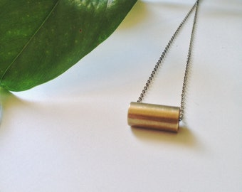 Antiqued Brass Tube and Chain Necklace