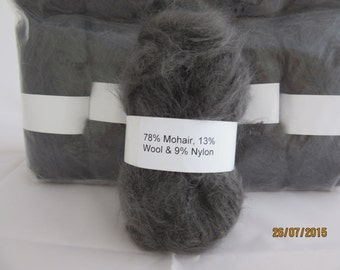 Dark Grey Mohair Yarn Mohair/Wool/Nylon 78/13/9 50g ball